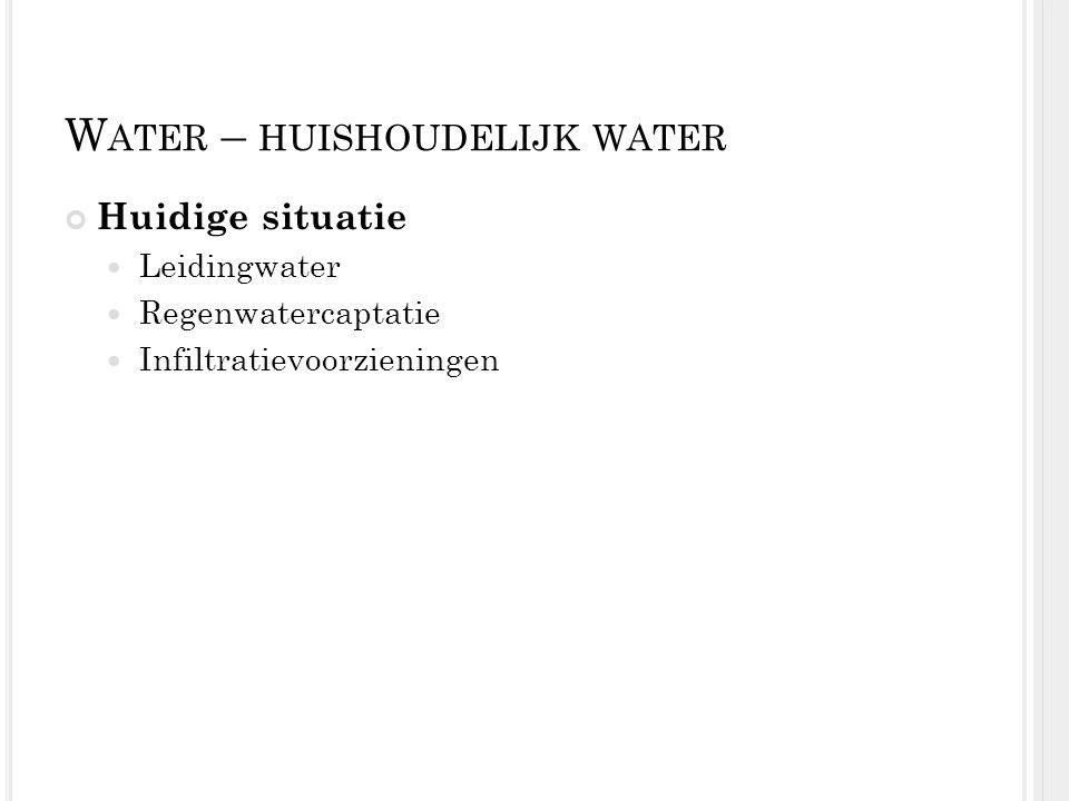 W ATER – HUISHOUDELIJK WATER Huidige situatie Leidingwater Regenwatercaptatie Infiltratievoorzieningen