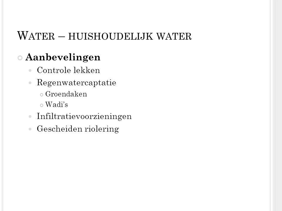W ATER – HUISHOUDELIJK WATER Aanbevelingen Controle lekken Regenwatercaptatie Groendaken Wadi's Infiltratievoorzieningen Gescheiden riolering