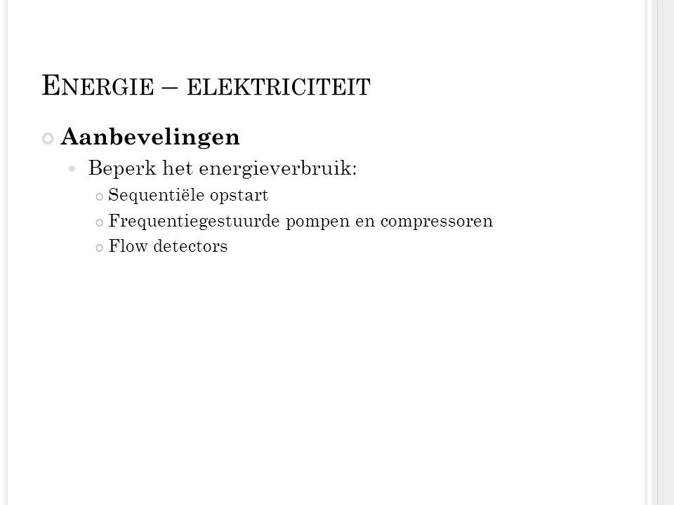 E NERGIE – ELEKTRICITEIT Aanbevelingen Beperk het energieverbruik: Sequentiële opstart Frequentiegestuurde pompen en compressoren Flow detectors