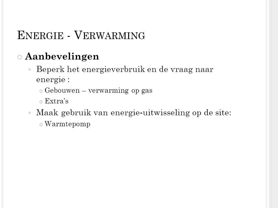 E NERGIE - V ERWARMING Aanbevelingen Beperk het energieverbruik en de vraag naar energie : Gebouwen – verwarming op gas Extra's Maak gebruik van energ