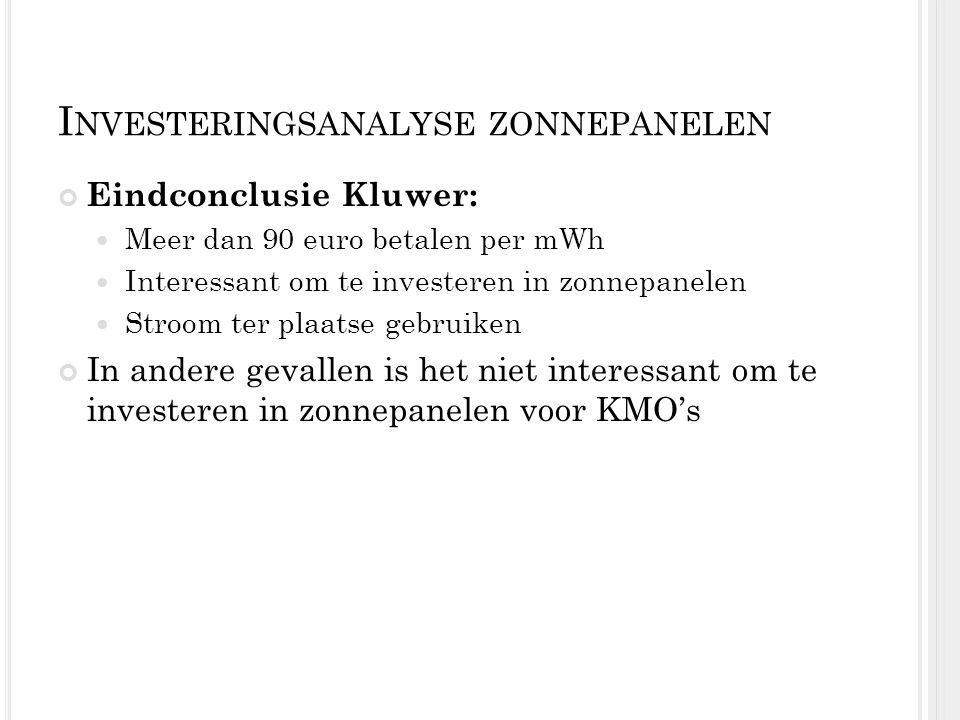 I NVESTERINGSANALYSE ZONNEPANELEN Eindconclusie Kluwer: Meer dan 90 euro betalen per mWh Interessant om te investeren in zonnepanelen Stroom ter plaat