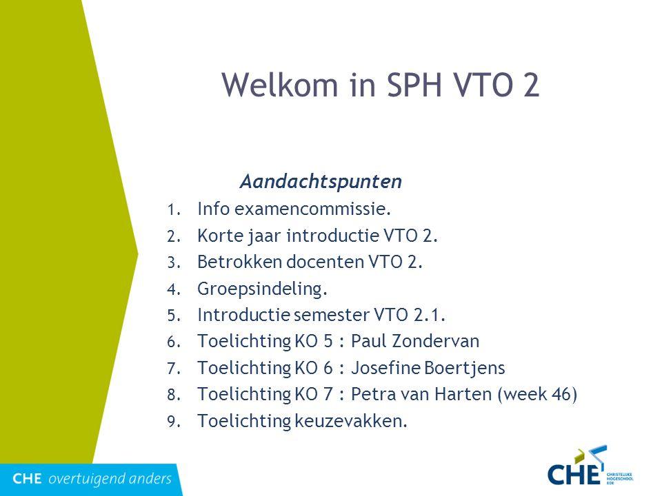 Welkom in SPH VTO 2 Aandachtspunten 1. Info examencommissie. 2. Korte jaar introductie VTO 2. 3. Betrokken docenten VTO 2. 4. Groepsindeling. 5. Intro