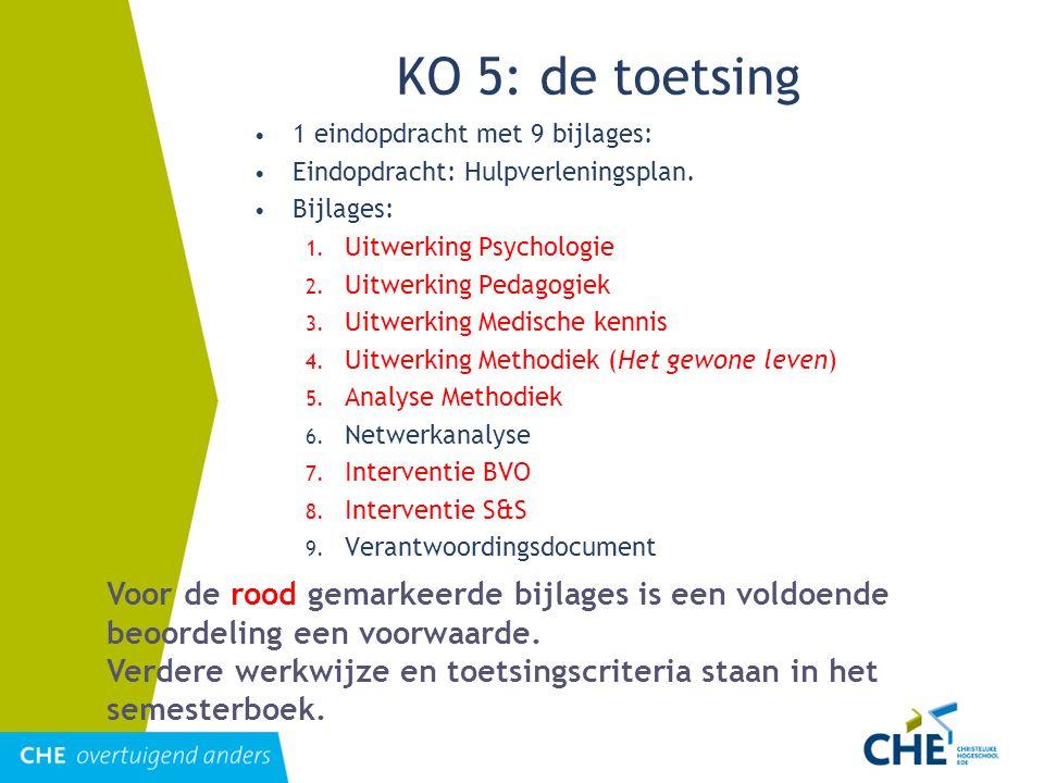 KO 5: de toetsing 1 eindopdracht met 9 bijlages: Eindopdracht: Hulpverleningsplan. Bijlages: 1. Uitwerking Psychologie 2. Uitwerking Pedagogiek 3. Uit