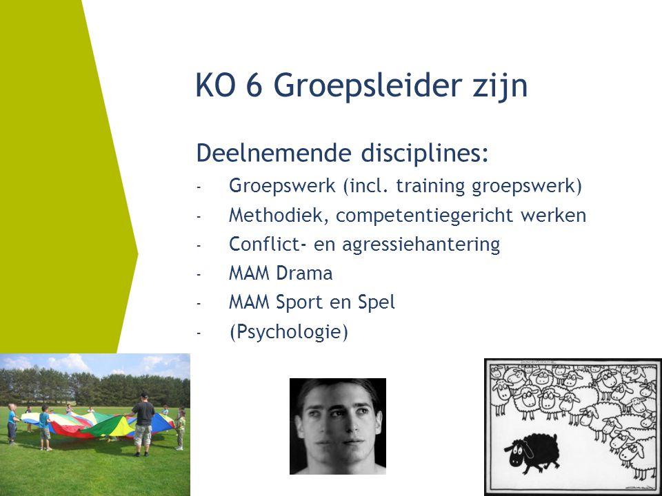Deelnemende disciplines: - Groepswerk (incl. training groepswerk) - Methodiek, competentiegericht werken - Conflict- en agressiehantering - MAM Drama