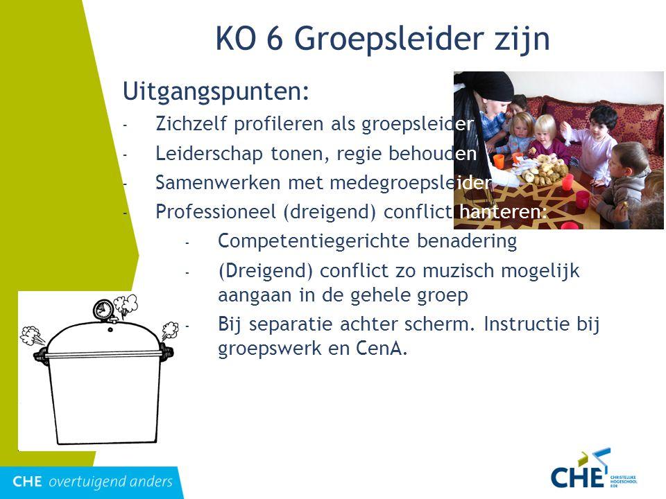KO 6 Groepsleider zijn Uitgangspunten: - Zichzelf profileren als groepsleider - Leiderschap tonen, regie behouden - Samenwerken met medegroepsleider -
