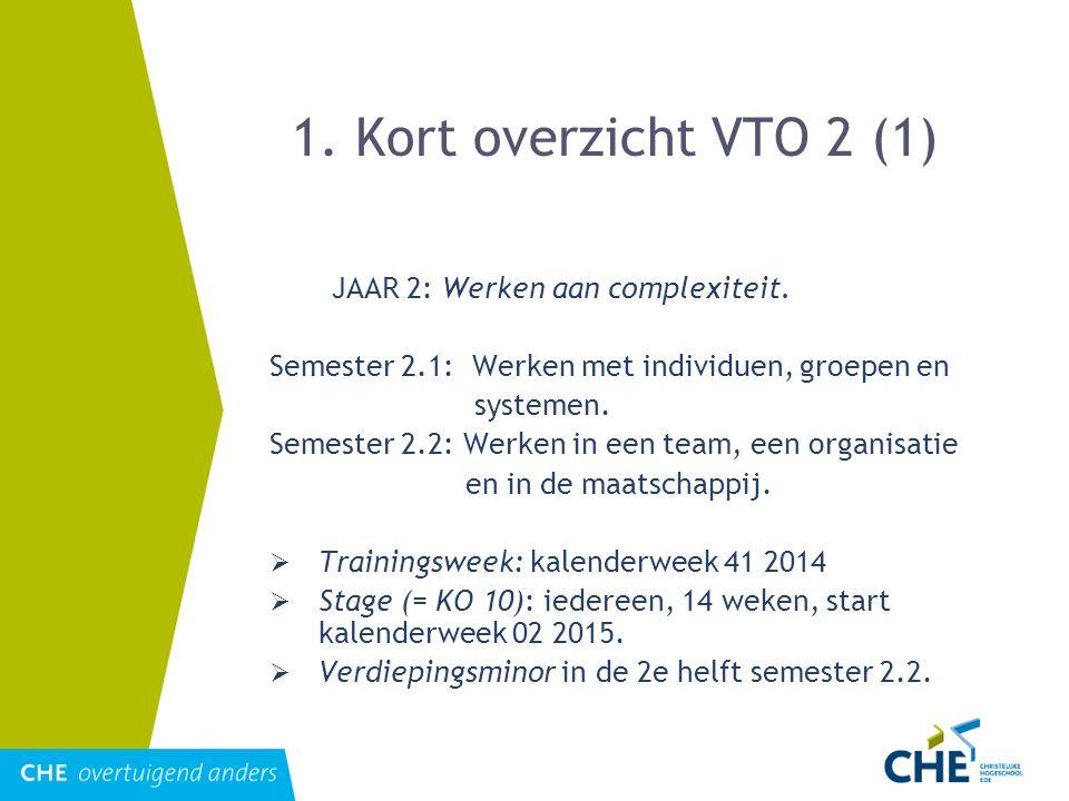 1. Kort overzicht VTO 2 (1) JAAR 2: Werken aan complexiteit. Semester 2.1: Werken met individuen, groepen en systemen. Semester 2.2: Werken in een tea