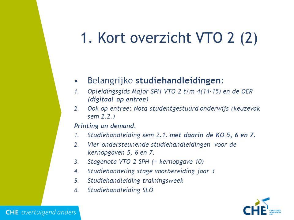 1. Kort overzicht VTO 2 (2) Belangrijke studiehandleidingen: 1. Opleidingsgids Major SPH VTO 2 t/m 4(14-15) en de OER (digitaal op entree) 2. Ook op e