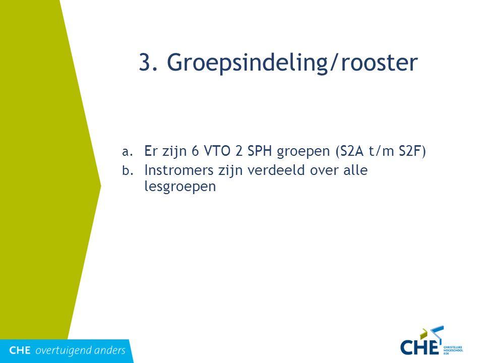 3. Groepsindeling/rooster a. Er zijn 6 VTO 2 SPH groepen (S2A t/m S2F) b. Instromers zijn verdeeld over alle lesgroepen