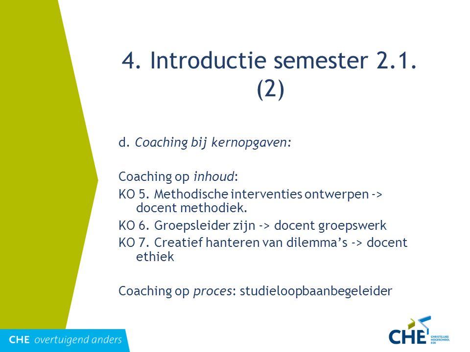 4. Introductie semester 2.1. (2) d. Coaching bij kernopgaven: Coaching op inhoud: KO 5. Methodische interventies ontwerpen -> docent methodiek. KO 6.