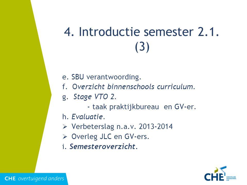 4. Introductie semester 2.1. (3) e. SBU verantwoording. f. Overzicht binnenschools curriculum. g. Stage VTO 2. - taak praktijkbureau en GV-er. h. Eval