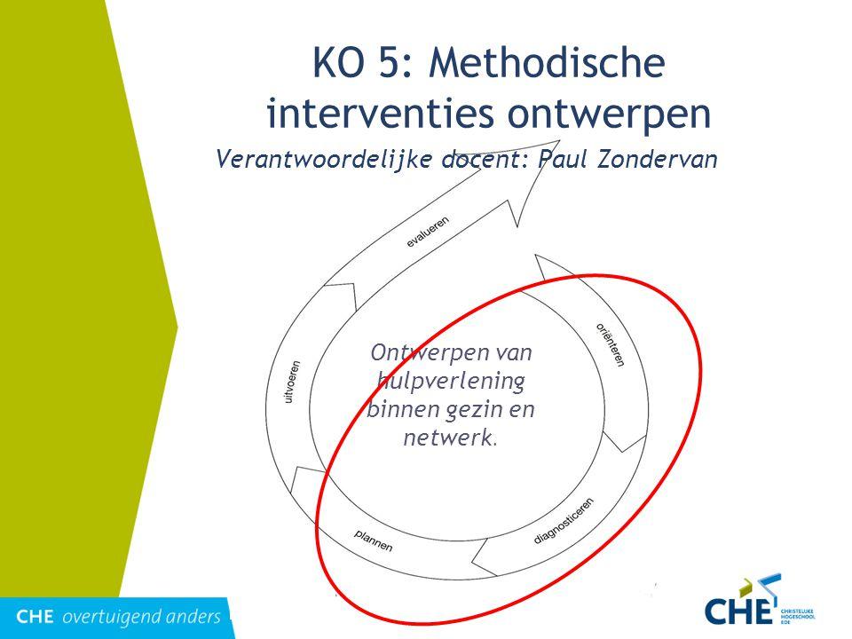 Ontwerpen van hulpverlening binnen gezin en netwerk. KO 5: Methodische interventies ontwerpen Verantwoordelijke docent: Paul Zondervan