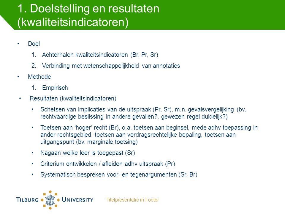 1. Doelstelling en resultaten (kwaliteitsindicatoren) Doel 1.Achterhalen kwaliteitsindicatoren (Br, Pr, Sr) 2.Verbinding met wetenschappelijkheid van