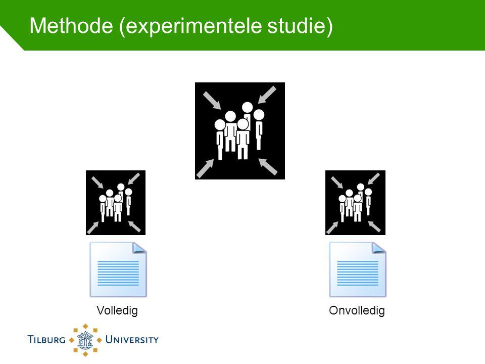 Methode (experimentele studie) OnvolledigVolledig
