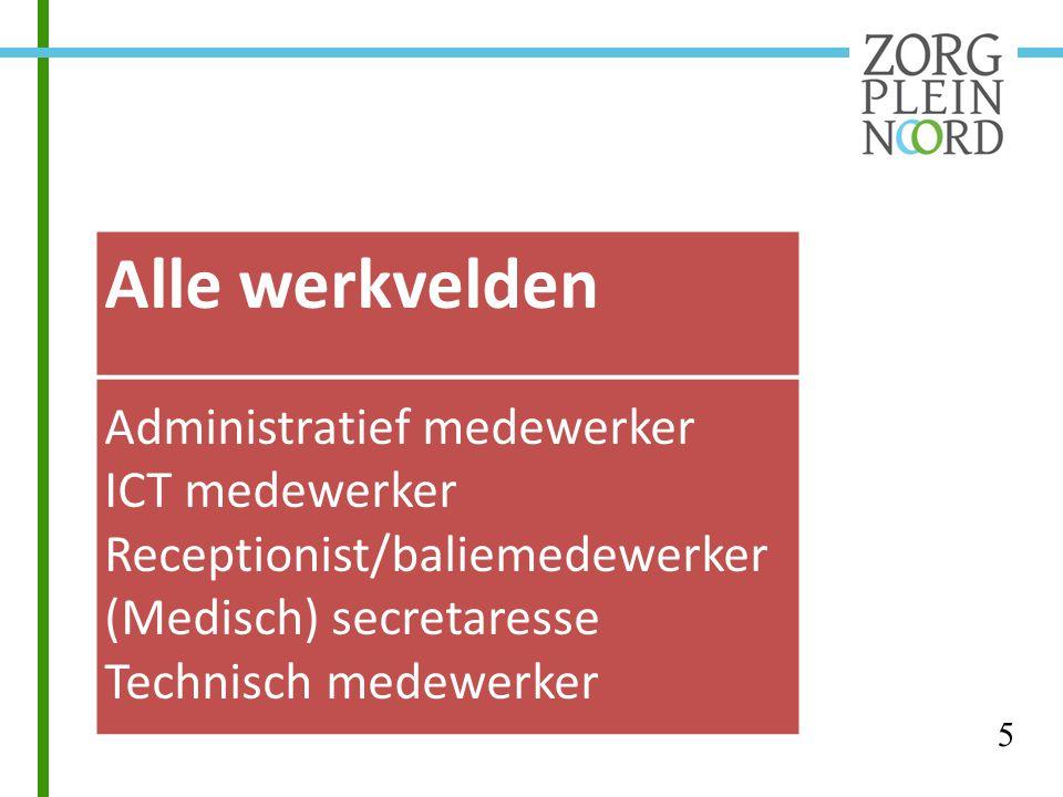 Alle werkvelden Administratief medewerker ICT medewerker Receptionist/baliemedewerker (Medisch) secretaresse Technisch medewerker 5