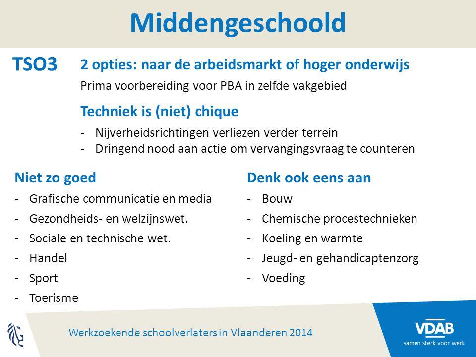 Werkzoekende schoolverlaters in Vlaanderen 2014 Middengeschoold TSO3 2 opties: naar de arbeidsmarkt of hoger onderwijs Prima voorbereiding voor PBA in zelfde vakgebied Techniek is (niet) chique -Nijverheidsrichtingen verliezen verder terrein -Dringend nood aan actie om vervangingsvraag te counteren Niet zo goed -Grafische communicatie en media -Gezondheids- en welzijnswet.