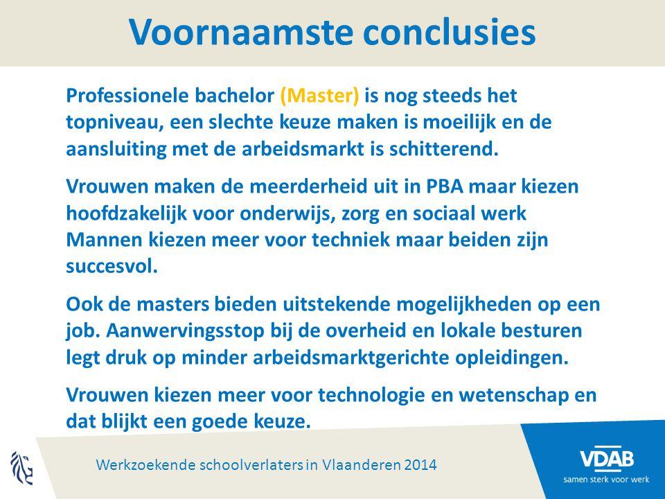 Werkzoekende schoolverlaters in Vlaanderen 2014 Voornaamste conclusies Professionele bachelor (Master) is nog steeds het topniveau, een slechte keuze maken is moeilijk en de aansluiting met de arbeidsmarkt is schitterend.