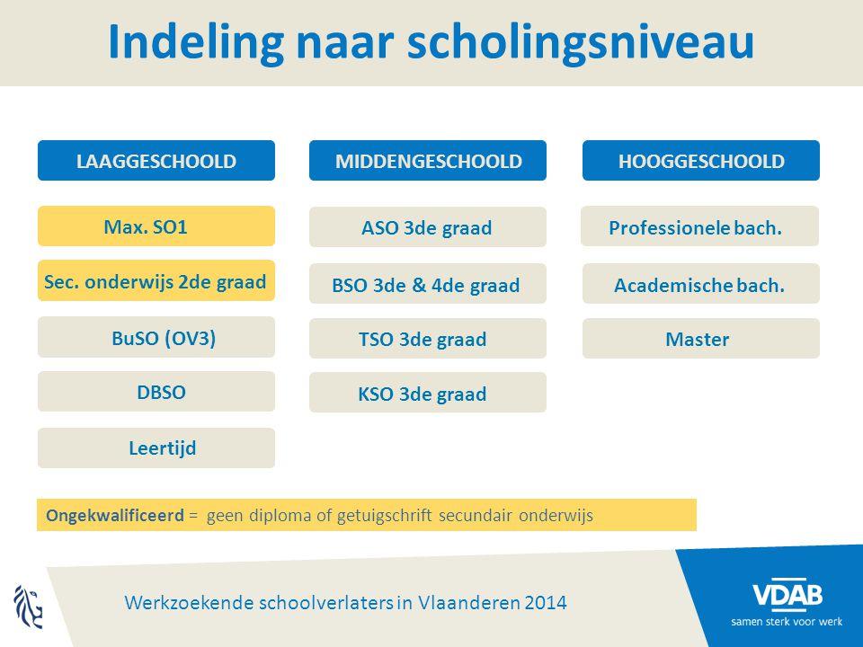 Werkzoekende schoolverlaters in Vlaanderen 2014 Indeling naar scholingsniveau Professionele bach.
