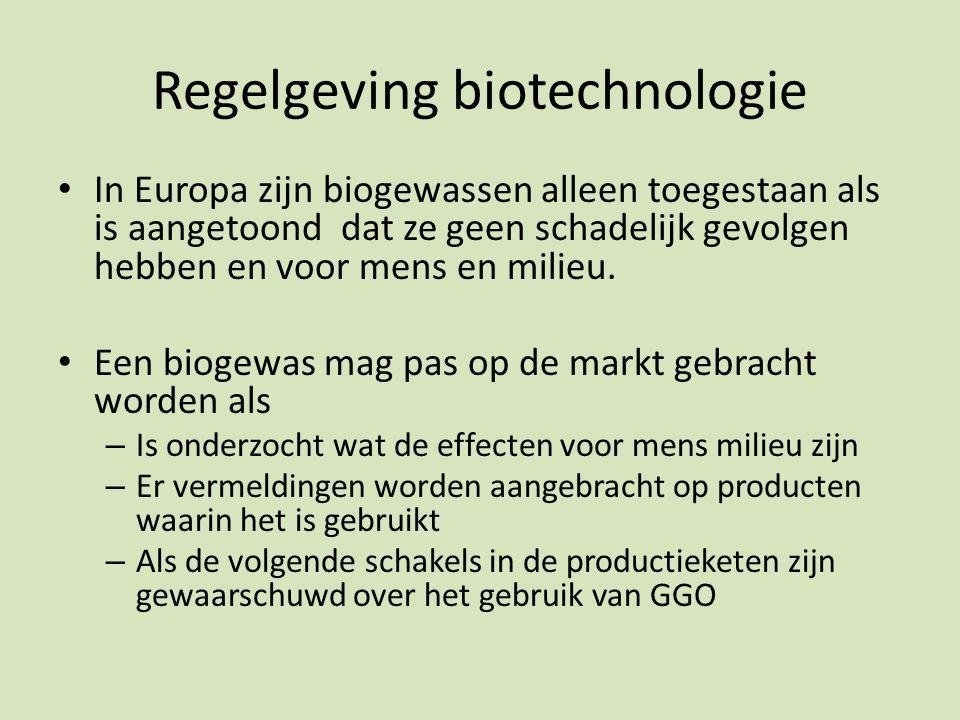 Regelgeving biotechnologie In Europa zijn biogewassen alleen toegestaan als is aangetoond dat ze geen schadelijk gevolgen hebben en voor mens en milieu.
