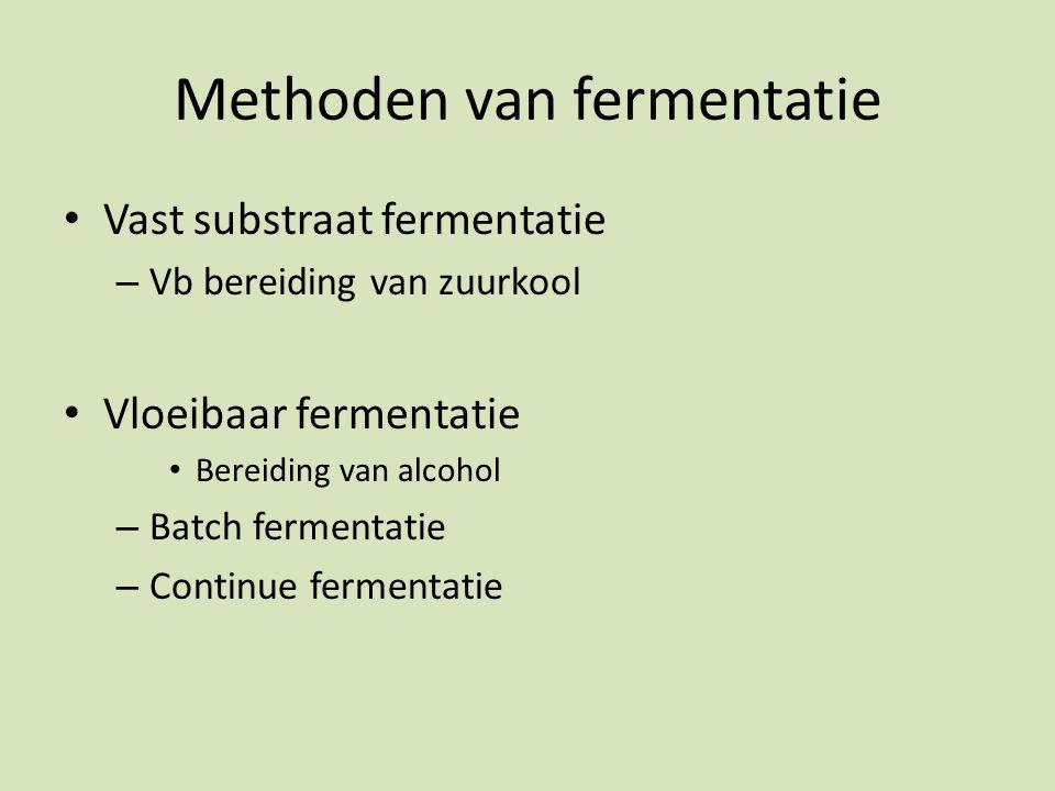 Methoden van fermentatie Vast substraat fermentatie – Vb bereiding van zuurkool Vloeibaar fermentatie Bereiding van alcohol – Batch fermentatie – Continue fermentatie