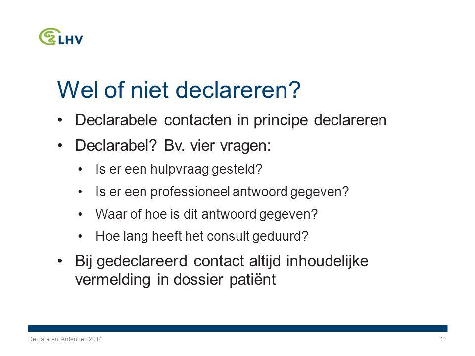 Wel of niet declareren. Declarabele contacten in principe declareren Declarabel.