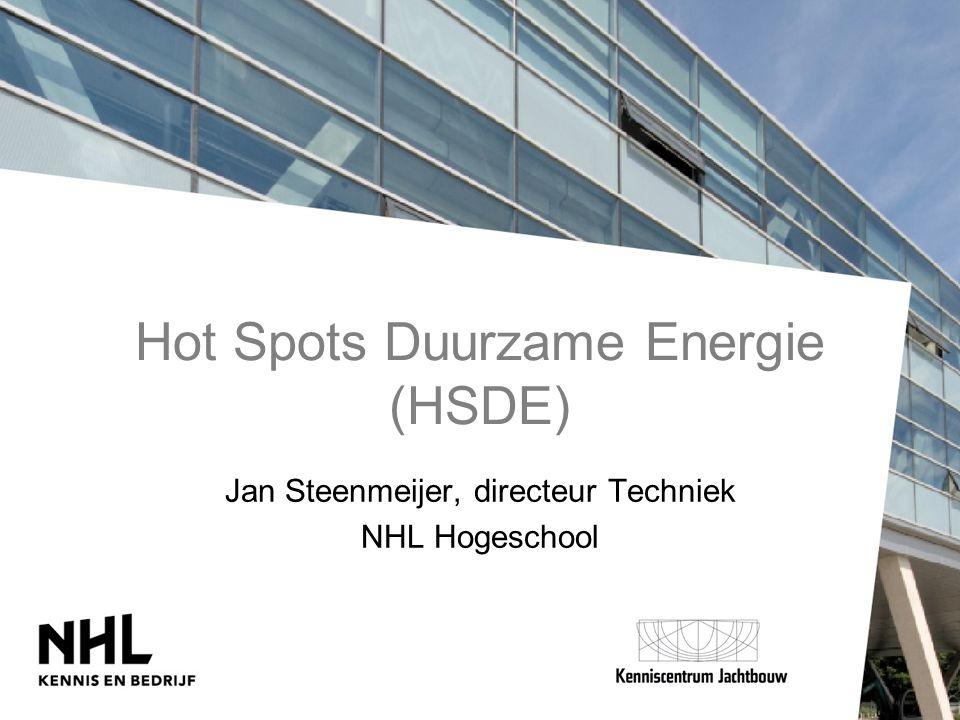 Hot Spots Duurzame Energie (HSDE) Jan Steenmeijer, directeur Techniek NHL Hogeschool