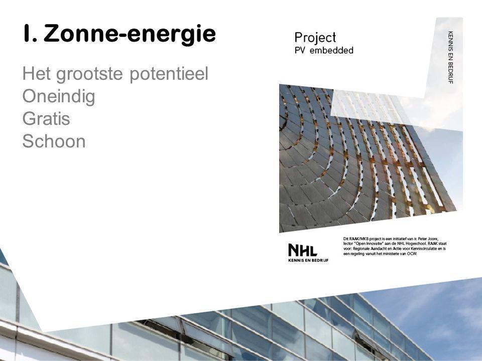 I. Zonne-energie Het grootste potentieel Oneindig Gratis Schoon