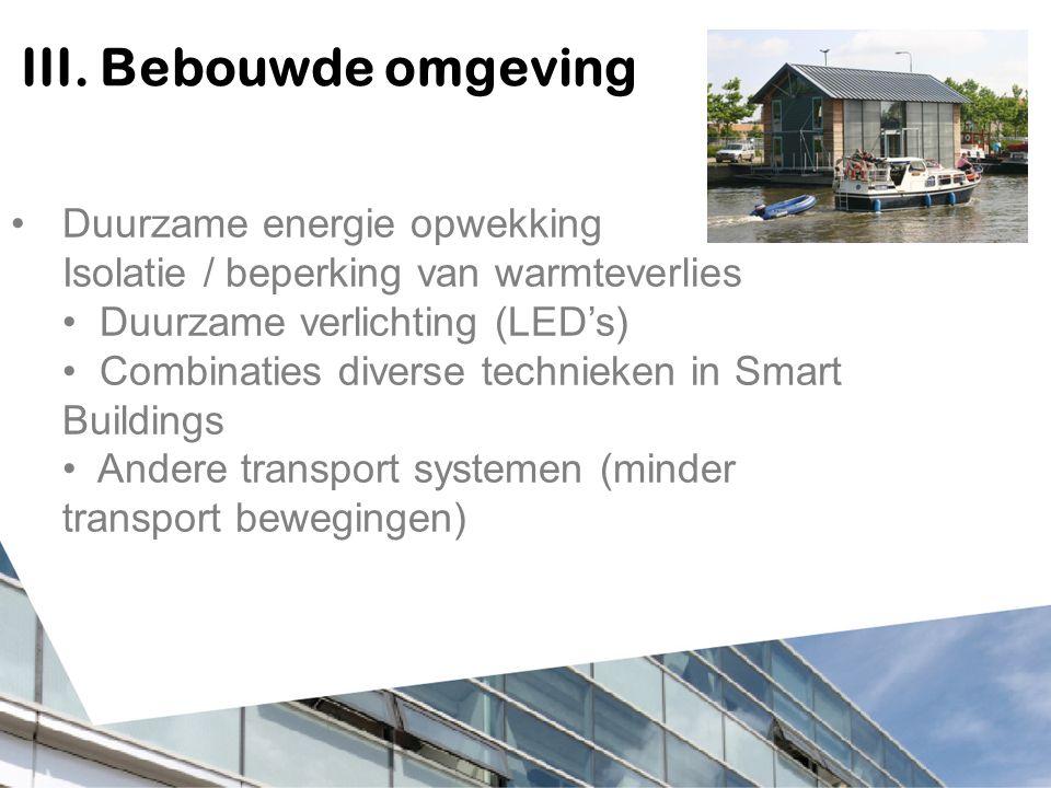 III. Bebouwde omgeving Duurzame energie opwekking Isolatie / beperking van warmteverlies Duurzame verlichting (LED's) Combinaties diverse technieken i