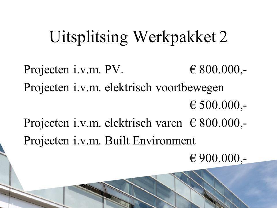 Uitsplitsing Werkpakket 2 Projecten i.v.m. PV.€ 800.000,- Projecten i.v.m. elektrisch voortbewegen € 500.000,- Projecten i.v.m. elektrisch varen€ 800.
