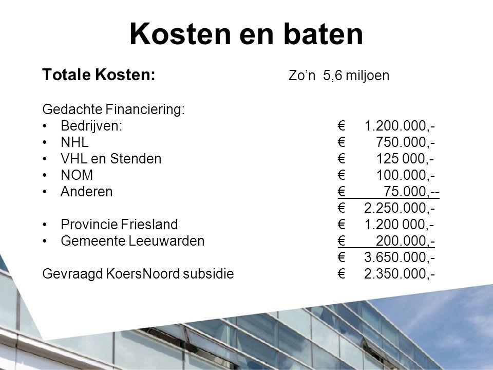 Kosten en baten Totale Kosten: Zo'n 5,6 miljoen Gedachte Financiering: Bedrijven:€ 1.200.000,- NHL€ 750.000,- VHL en Stenden€ 125 000,- NOM€ 100.000,-