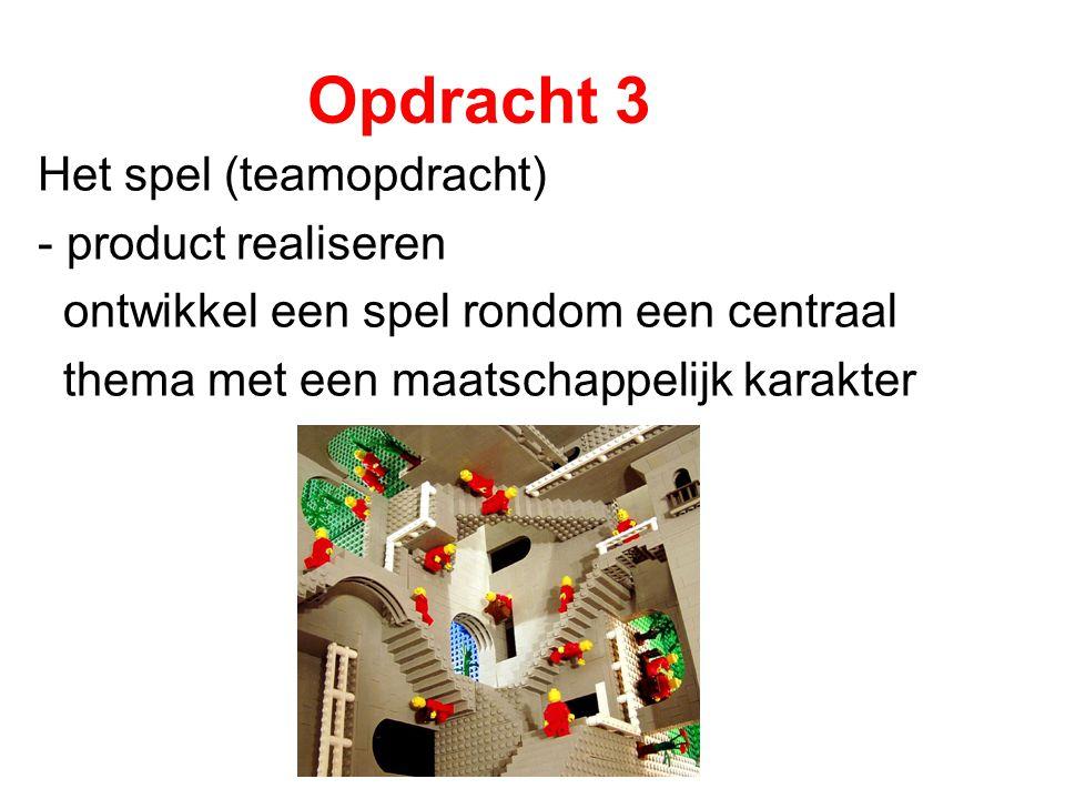 Opdracht 3 Het spel (teamopdracht) - product realiseren ontwikkel een spel rondom een centraal thema met een maatschappelijk karakter