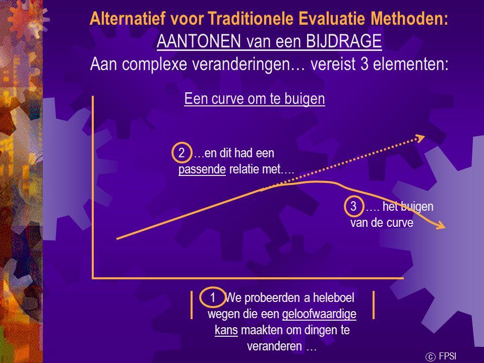 Alternatief voor Traditionele Evaluatie Methoden: AANTONEN van een BIJDRAGE Aan complexe veranderingen… vereist 3 elementen: Een curve om te buigen 1 We probeerden a heleboel wegen die een geloofwaardige kans maakten om dingen te veranderen … 2 …en dit had een passende relatie met….