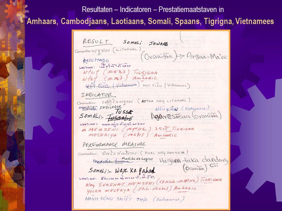 Resultaten – Indicatoren – Prestatiemaatstaven in Amhaars, Cambodjaans, Laotiaans, Somali, Spaans, Tigrigna, Vietnamees