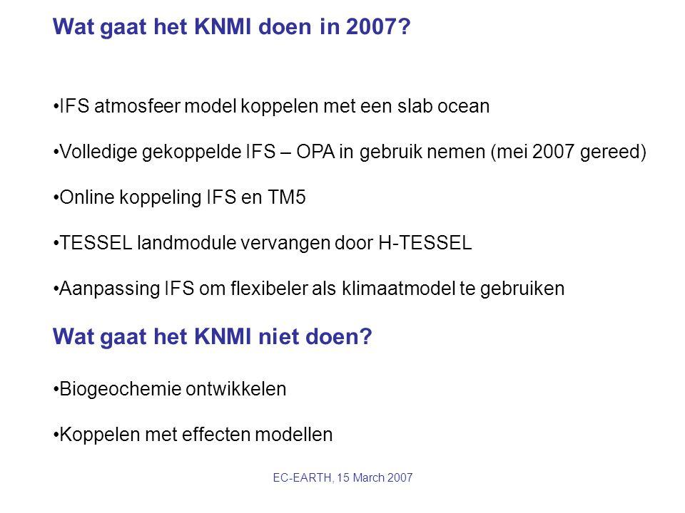 EC-EARTH, 15 March 2007 Wat gaat het KNMI doen in 2007? IFS atmosfeer model koppelen met een slab ocean Volledige gekoppelde IFS – OPA in gebruik neme