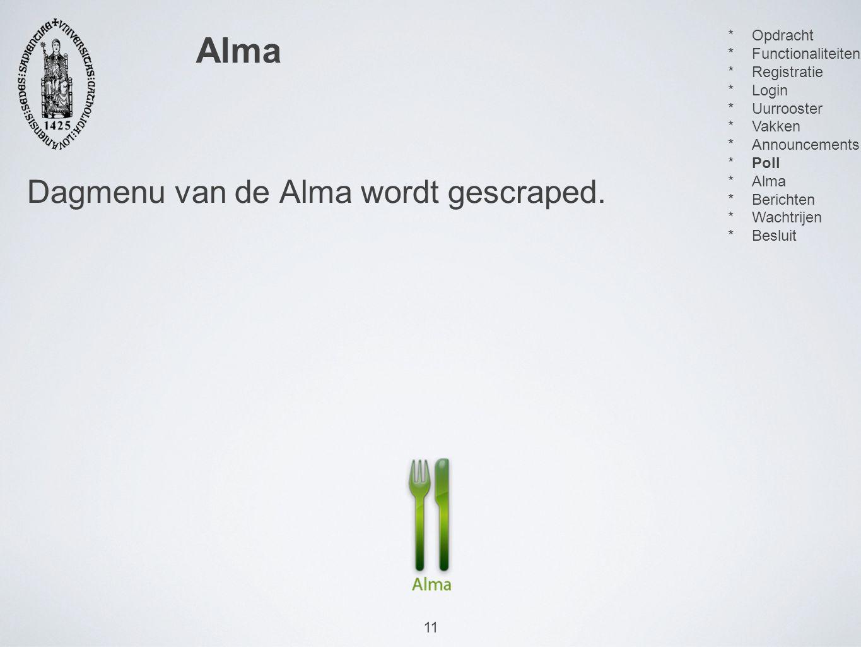 11 Dagmenu van de Alma wordt gescraped.