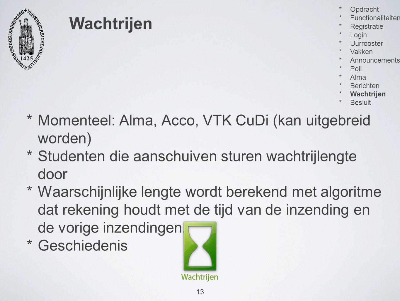 13 *Momenteel: Alma, Acco, VTK CuDi (kan uitgebreid worden) *Studenten die aanschuiven sturen wachtrijlengte door *Waarschijnlijke lengte wordt berekend met algoritme dat rekening houdt met de tijd van de inzending en de vorige inzendingen.