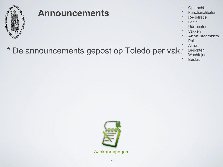 9 * De announcements gepost op Toledo per vak.
