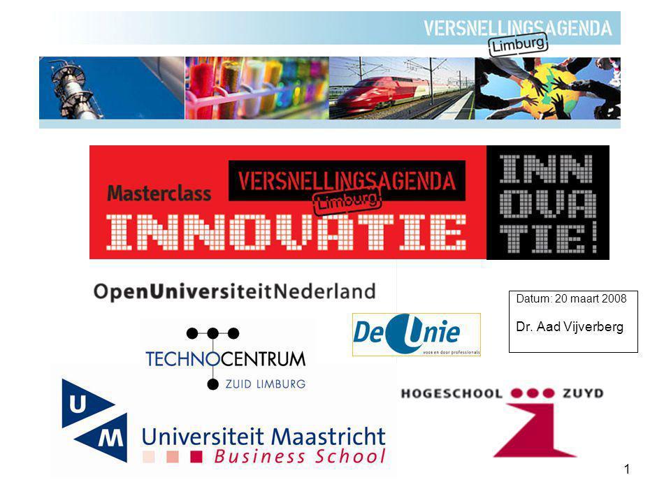 2 Kader voor selectie van innovatie-projecten Datum: 20 maart 2008 Dr. Aad Vijverberg