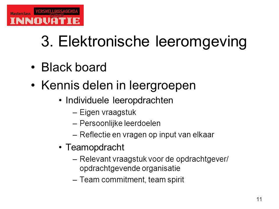 11 3. Elektronische leeromgeving Black board Kennis delen in leergroepen Individuele leeropdrachten –Eigen vraagstuk –Persoonlijke leerdoelen –Reflect