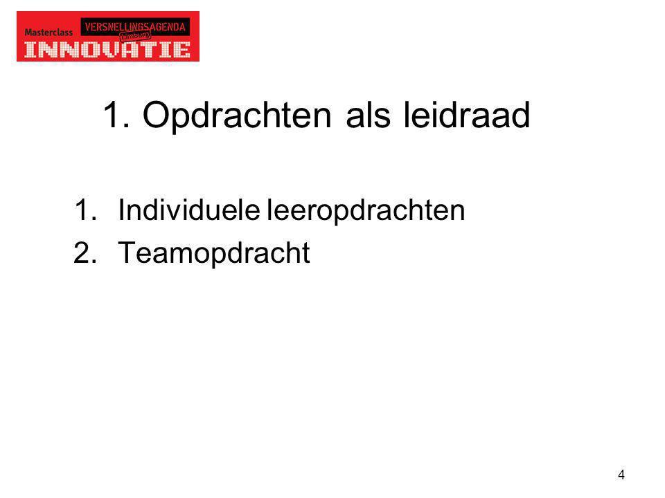 4 1. Opdrachten als leidraad 1.Individuele leeropdrachten 2.Teamopdracht