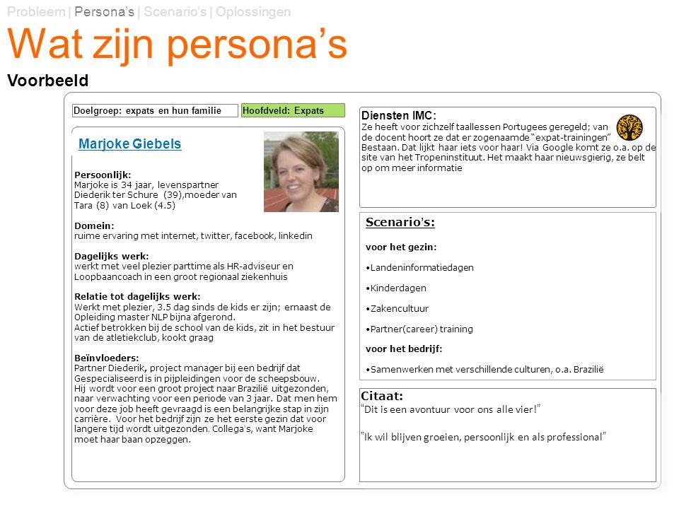 Wat zijn persona's Probleem | Persona's | Scenario's | Oplossingen Voorbeeld Diensten IMC: Ze heeft voor zichzelf taallessen Portugees geregeld; van d