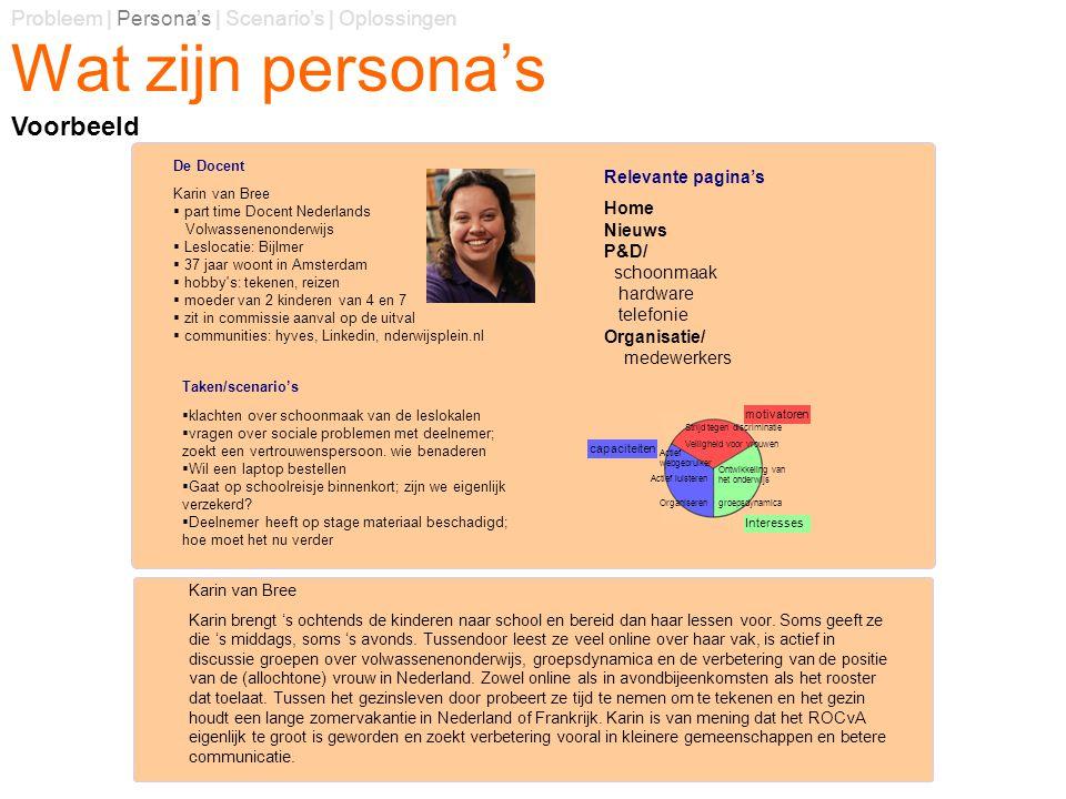 Wat zijn persona's Probleem | Persona's | Scenario's | Oplossingen Voorbeeld Relevante pagina's Home Nieuws P&D/ schoonmaak hardware telefonie Organis