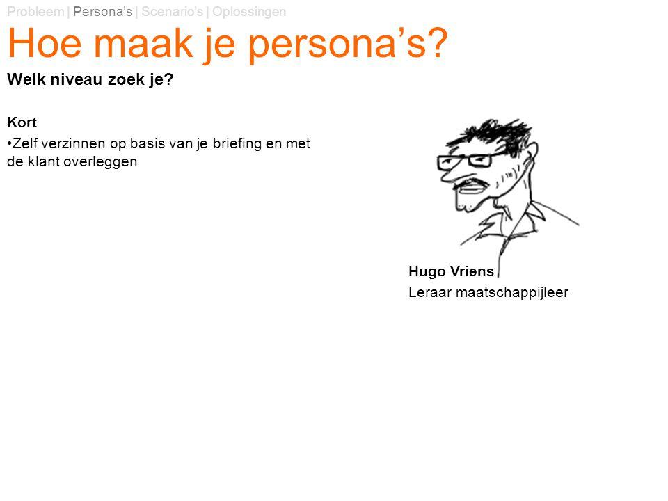Hoe maak je persona's? Kort Zelf verzinnen op basis van je briefing en met de klant overleggen Probleem | Persona's | Scenario's | Oplossingen Welk ni