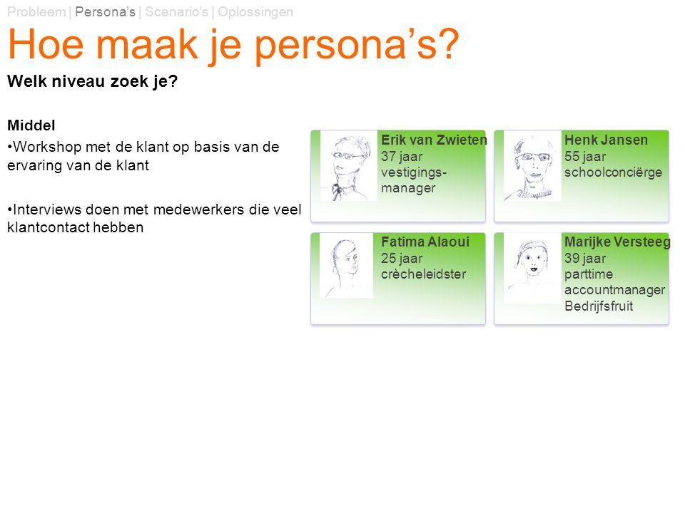 Hoe maak je persona's? Middel Workshop met de klant op basis van de ervaring van de klant Interviews doen met medewerkers die veel klantcontact hebben