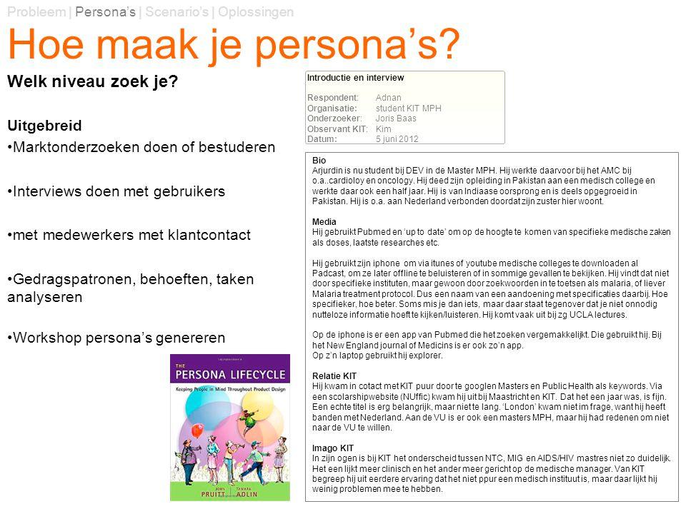 Hoe maak je persona's? Uitgebreid Marktonderzoeken doen of bestuderen Interviews doen met gebruikers met medewerkers met klantcontact Gedragspatronen,