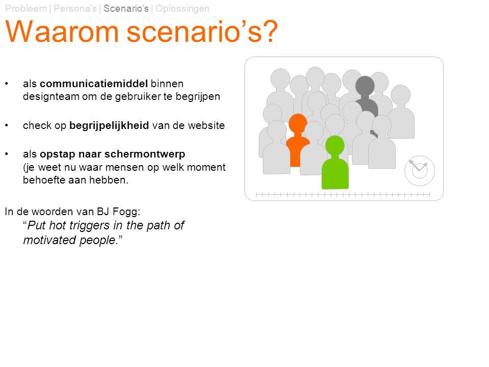 Waarom scenario's? als communicatiemiddel binnen designteam om de gebruiker te begrijpen check op begrijpelijkheid van de website als opstap naar sche