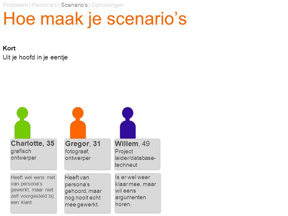 Hoe maak je scenario's Kort Uit je hoofd in je eentje Probleem | Persona's | Scenario's | Oplossingen Charlotte, 35 grafisch ontwerper Charlotte, 35 g