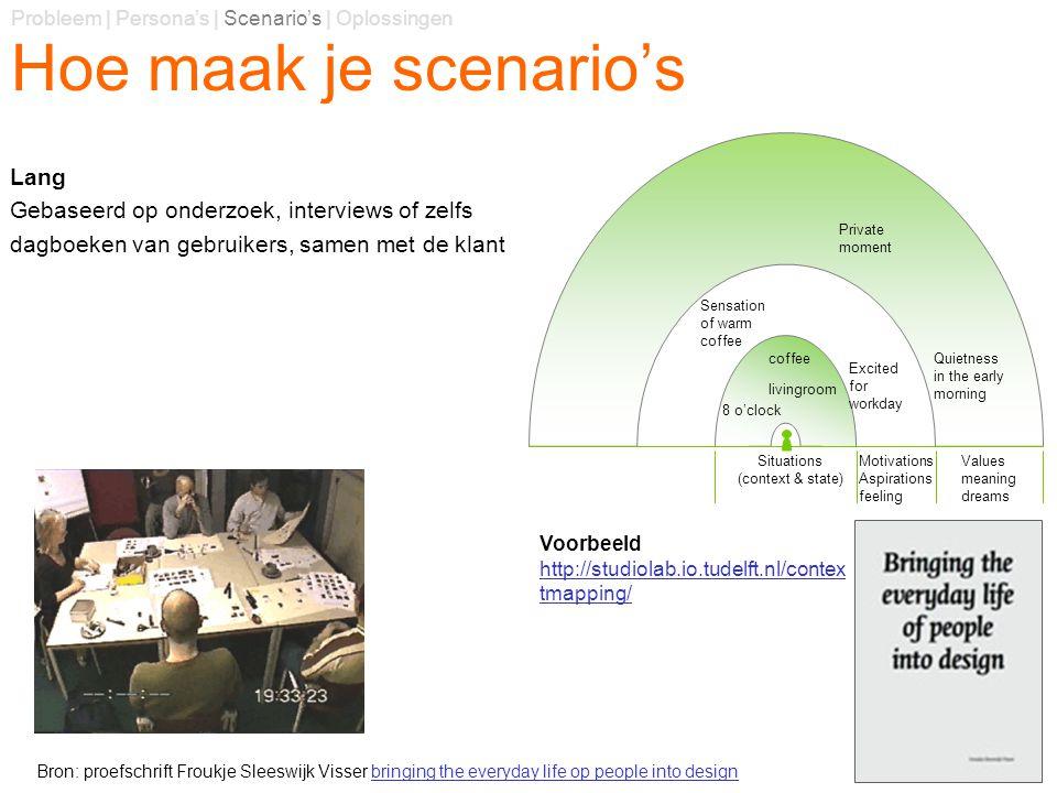Hoe maak je scenario's Lang Gebaseerd op onderzoek, interviews of zelfs dagboeken van gebruikers, samen met de klant Probleem | Persona's | Scenario's
