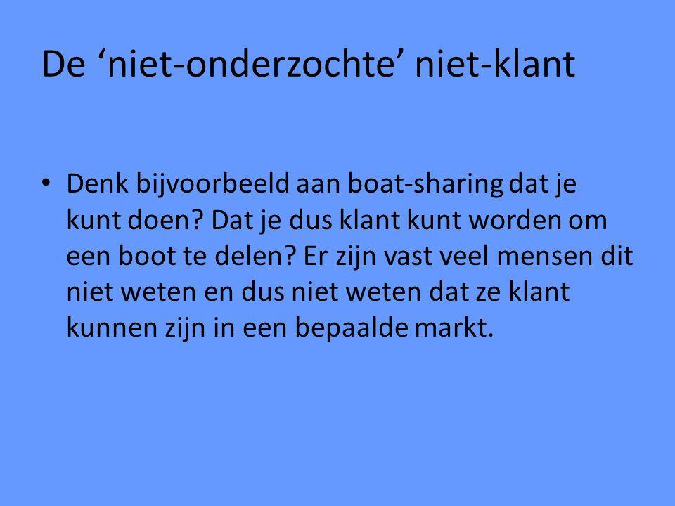 De 'niet-onderzochte' niet-klant Denk bijvoorbeeld aan boat-sharing dat je kunt doen? Dat je dus klant kunt worden om een boot te delen? Er zijn vast