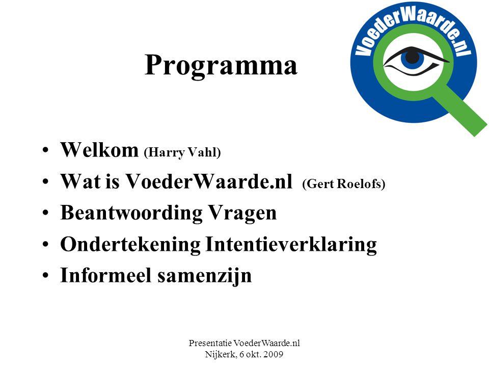 Presentatie VoederWaarde.nl Nijkerk, 6 okt. 2009 Programma Welkom (Harry Vahl) Wat is VoederWaarde.nl (Gert Roelofs) Beantwoording Vragen Ondertekenin