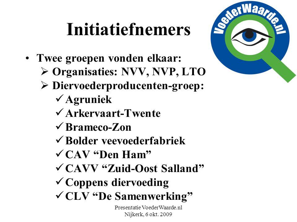 Presentatie VoederWaarde.nl Nijkerk, 6 okt. 2009 Initiatiefnemers Twee groepen vonden elkaar:  Organisaties: NVV, NVP, LTO  Diervoederproducenten-gr